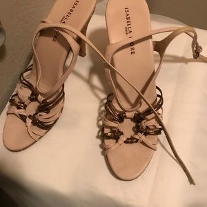 Isabella Fiore Ivory and Gold Leather  Sandals